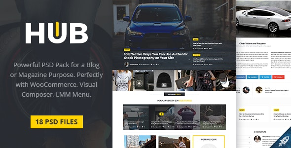 HUB - Powerful Blog & Magazine PSD Template - Photoshop UI Templates