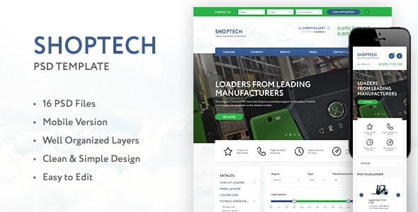 SHOPTECH – Clean & Simple PSD Template for Shop - PSD Templates
