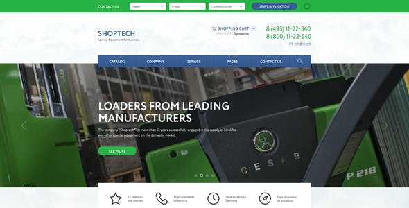 SHOPTECH – Clean & Simple PSD Template for Shop