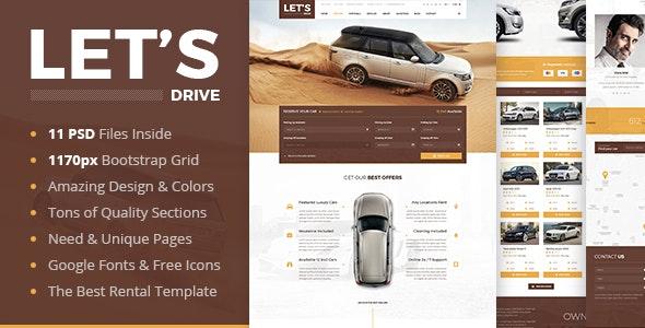 Let's Drive - Amazing Car Rental & Sale PSD Template - Retail Photoshop