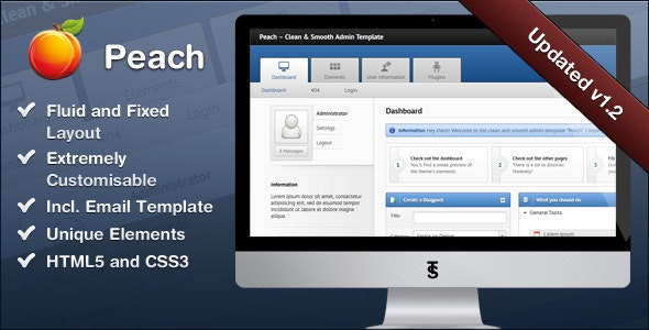 Peach – Clean & Smooth Admin Template - Admin Templates Site Templates