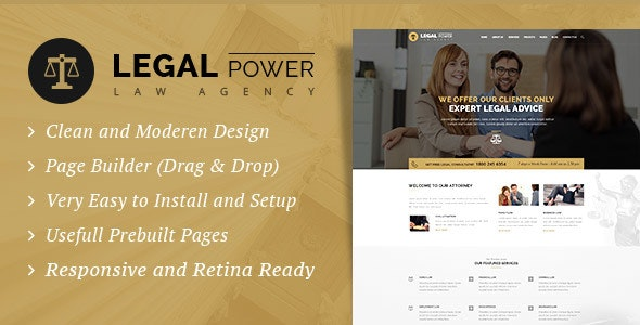 Legal Power - Lawyer Attorney WordPress Theme - Corporate WordPress