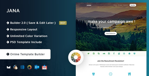 Jana - Modern Email Template + Online Builder - Email Templates Marketing