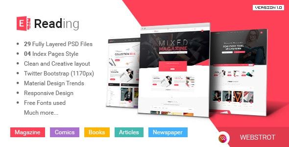 E-Reading Magazines Library eCommerce PSD Theme - Retail Photoshop