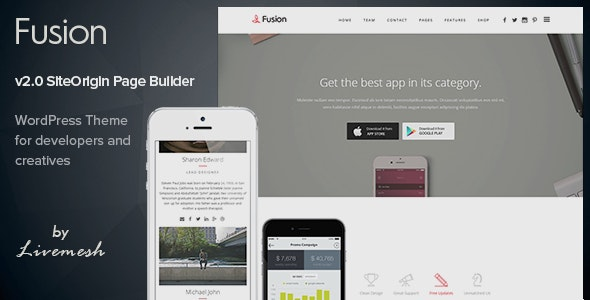 Fusion - Mobile App Landing WordPress Theme - Software Technology