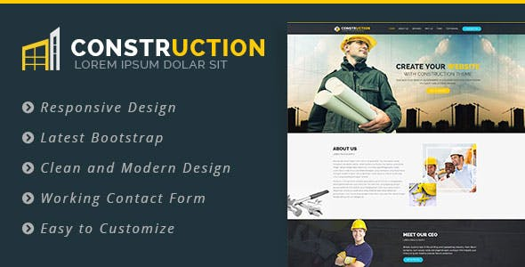 Construction - Bootstrap Landing Page