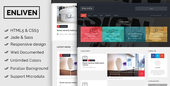The Enliven - Parallax Blog and Magazine Template - Corporate Site Templates