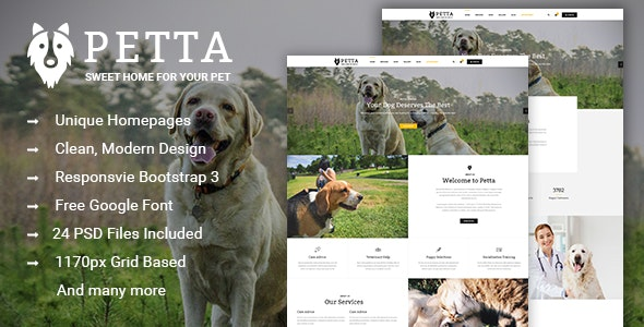 Petta - Premium Pet Care PSD Template - Creative PSD Templates