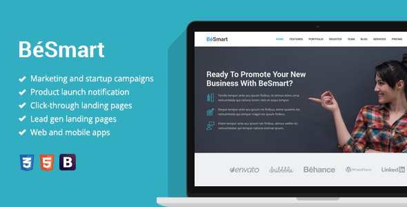 BeSmart - Startup Landing Page Template - Business Corporate