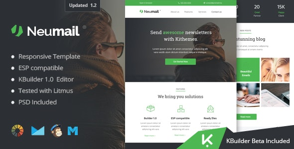 Neumail - Responsive Email Template + Kbuilder 1.0 - Email Templates Marketing