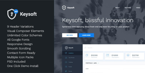 KeySoft - WordPress Software Landing Page - Software Technology