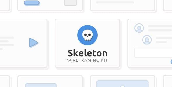 Skeleton Wireframing Kit — 120+ Components for Sketch