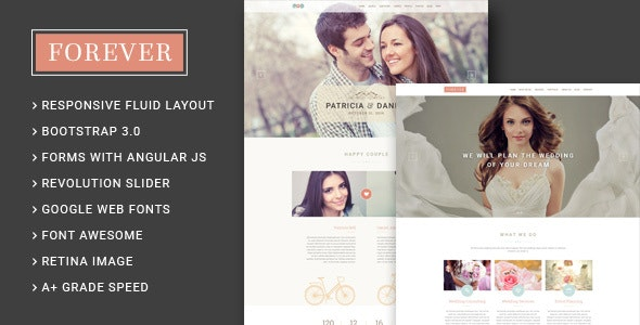 Forever - Wedding Couple & Agency/Planner HTML5 Template - Wedding Site Templates