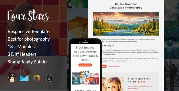 Four Stars - Creative Responsive Email Template + Stampready Builder - Email Templates Marketing