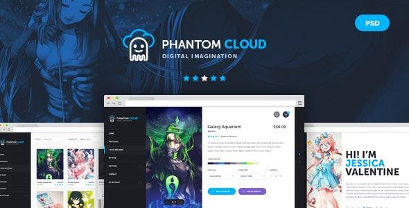 Phantom Cloud - Digital Artist Merchandising Shop PSD Template - Creative Photoshop