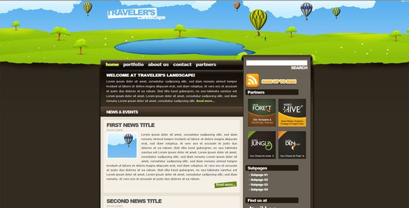 Traveler's Landscape XHTML drawn styled template - Creative Site Templates