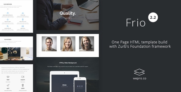 Frio One Page Zurb Foundation Template - Creative Site Templates