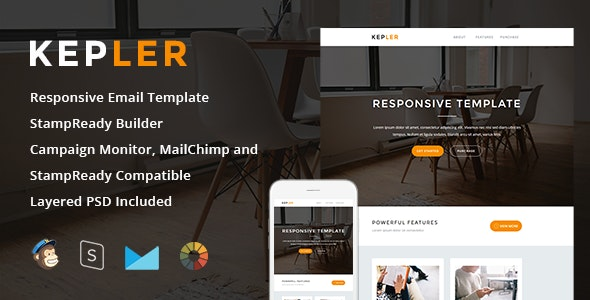 Kepler - Responsive Email + StampReady Builder - Newsletters Email Templates