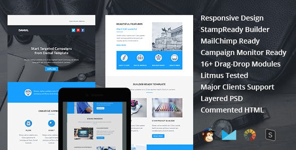 DAMAL - Multipurpose Responsive Email Template + Stampready Builder