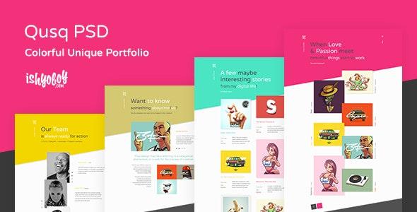 Qusq PSD - Colorful Unique Portfolio - Portfolio Creative