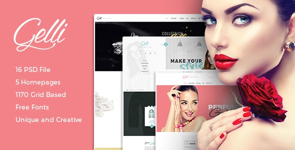 Gelli - PSD Template For Jewelry / Perfume / Accessories Online Shop - Shopping Retail