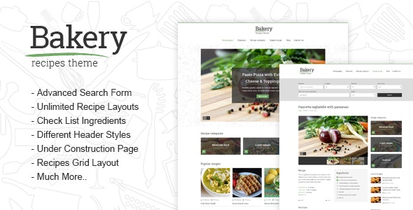 Bakery - Responsive Recipes HTML Template - Food Retail