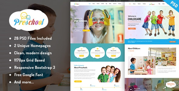 Preschool - Multipurpose Business PSD Template - Creative Photoshop