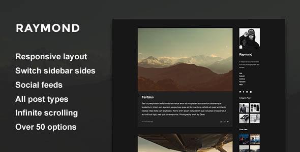 Raymond - Single Column Sidebar Theme - Blog Tumblr