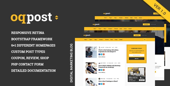 oPPost | Digital Downloads Marketing Blog Responsive Site Template - Marketing Corporate