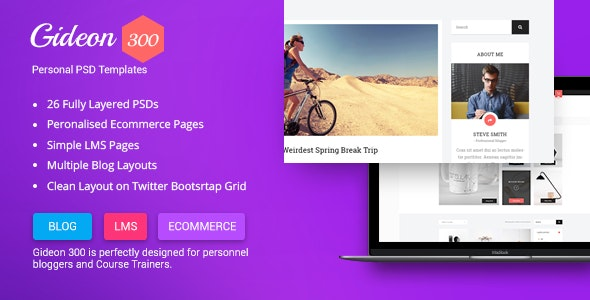 Gideon 300 - Personal Blog, LMS and eCommerce PSD Template - Personal Photoshop