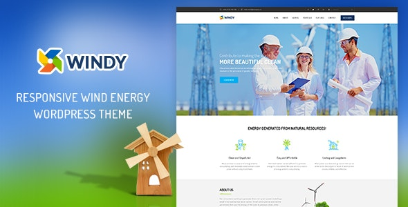 Ri Windy - Renewable Environmental  Energy WordPress Theme - Business Corporate