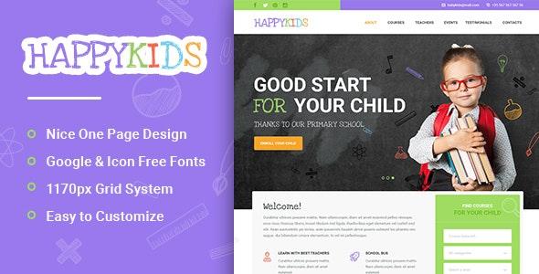 HappyKids – Primary School For Children PSD - Children Retail