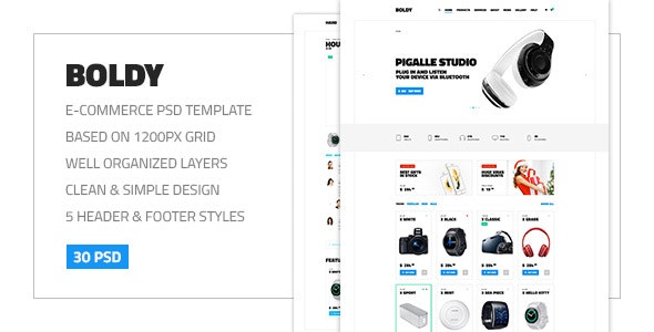 Boldy — Multipurpose Clean and Simple eCommerce PSD Theme - Shopping Retail
