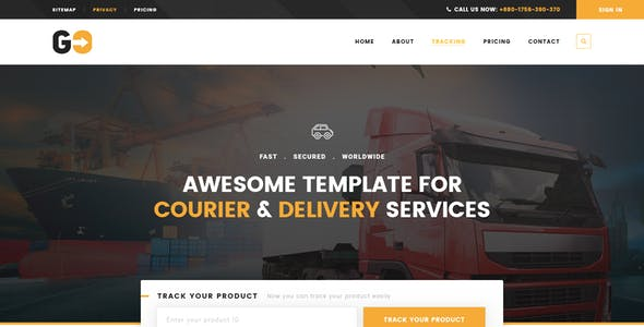 GO – A Courier & Delivery Service PSD Template