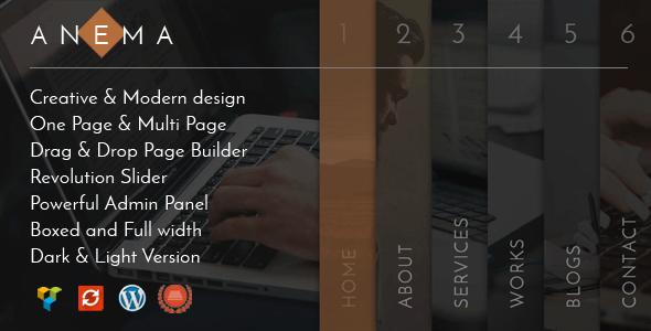 Anema   Creative OnePage & MultiPage WordPress Theme