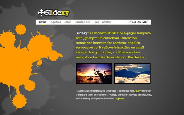 Slidexy - HTML5/jQuery One Pager With Transitions - Creative Site Templates