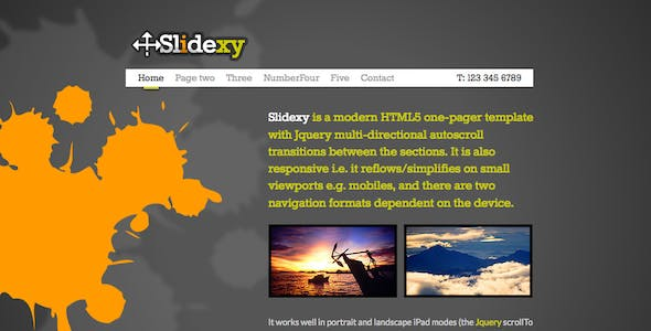 Slidexy - HTML5/jQuery One Pager With Transitions