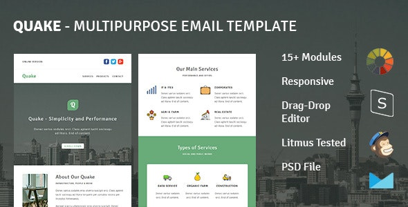 Quake - Responsive Email Template + Stampready Builder - Email Templates Marketing