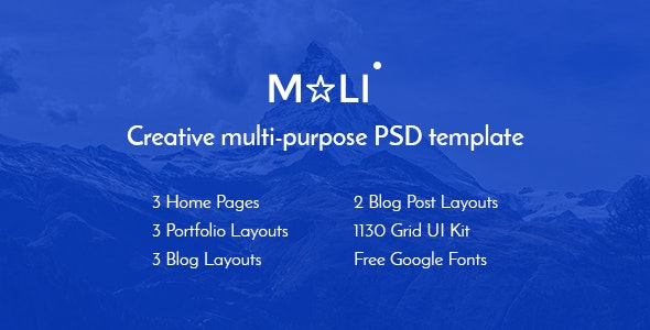 Mali — Multipurpose Portfolio & Personal Blog PSD Template - Corporate Photoshop