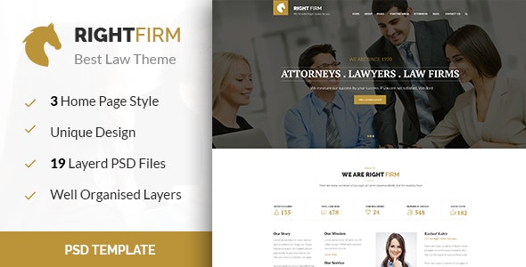 RIGHTFIRM - Law & Business PSD Template - Business Corporate