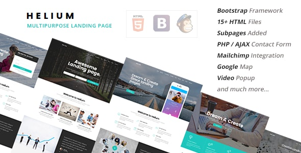 Helium -  10 in 1 Landing Pages Package - Marketing Corporate