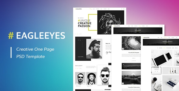 EAGLEEYES - Creative One Page PSD Template - PSD Templates