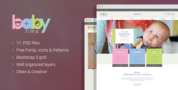 BabyTime - Babysitter and Nurse PSD Template - Miscellaneous Photoshop
