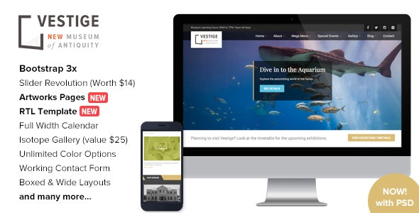 Vestige Museum - Responsive HTML5 Template - Nonprofit Site Templates