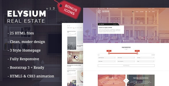 Elysium - Real Estate HTML5 Template - Retail Site Templates