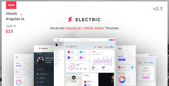 Electric - Admin Panel Dashboard Angular JS Template - Admin Templates Site Templates