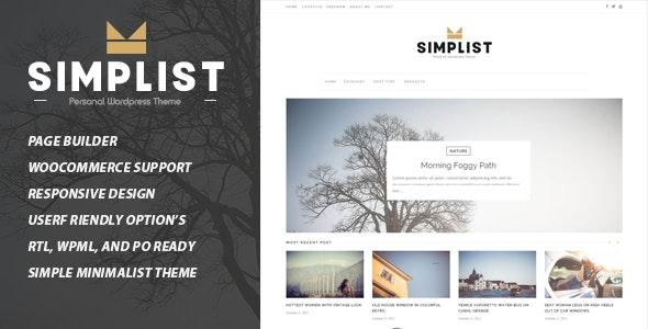 Simplist - A Responsive WordPress Blog Theme - Personal Blog / Magazine