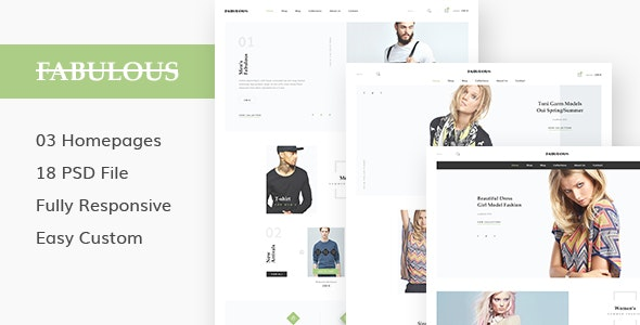FABULOUS - eCommerce & Blog PSD Theme - Retail Photoshop