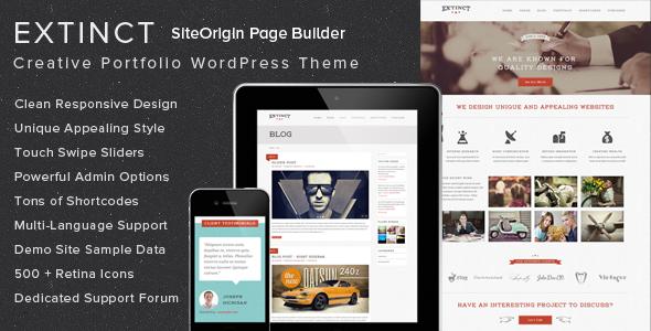 Extinct - Retro Vintage Portfolio WordPress Theme - Portfolio Creative
