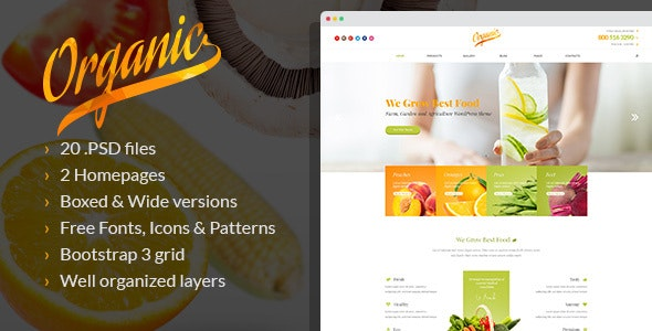 Organic - Farming and Gardening PSD Template - Business Corporate